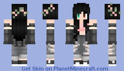 Girl / Black Hair (flowercrown) / Colored Eyes / Grey outfit | 「Casual Girls」 Minecraft Skin