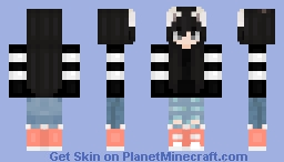 Girl/ Black hair with white cat ears/ Simple casual outfit | 「Casual Girls」 Minecraft Skin