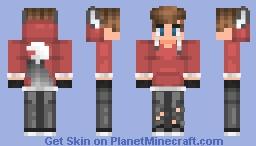 Red Hoodie Teen Minecraft Skin