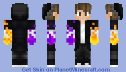 Simple black boy skin with flame hands Minecraft Skin