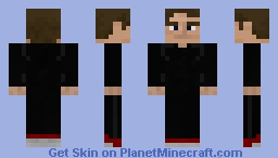 Black Sports Costume, Red Sneakers, Brown Hair Boy | Suggested Skin Minecraft Skin