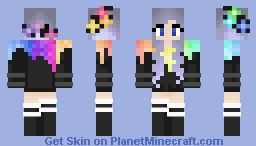 RAINBOW GIRL - WITH FLOWER CROWN Minecraft Skin