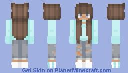 Tan Version of Light Aqua Girl Minecraft Skin