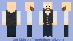 White blouse with black vest and a beard Minecraft Skin