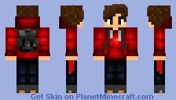 Red hoodie school boy Minecraft Skin