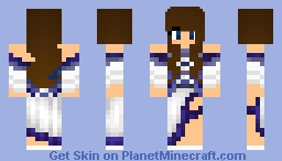 💙Cute brunette with a bold dress💙 Minecraft Skin