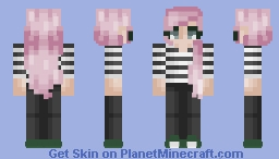Pink hair n strips Minecraft Skin
