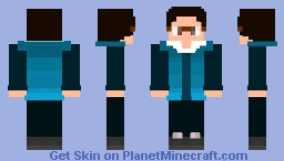 Boy with a blue vest on and glasses Minecraft Skin