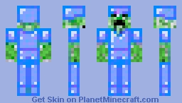 Creeper in Blue Diamond Armour Minecraft Skin