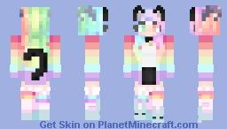 Harajuku Japanese Street Fasion Girl (Very, very rainbow...) Minecraft Skin