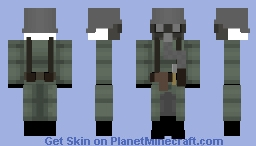 WW1 German Soldier Outfit(v1918) with gas mask and Trench Coat Minecraft Skin