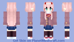 Code: 002 / Zero Two - Darling in the Literature Club [DDLC x DitF] Minecraft Skin