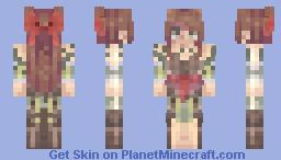 Orphan || MurMur frills, red velvet ribbons, green-ish brown eyes, purple-ish brown hair, dull green vines & Light skin Minecraft Skin