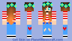 Cute Candy Cane Girl With Flower Head Band Minecraft Skin