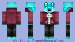 My Personal Skin - Blue Fox w/ Maroon Jacket Hoodie (4px arms) Minecraft Skin