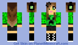 Headphone Creeper Girl Minecraft Skin