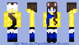 Meif Wai Girl with Yellow, Blue, White, and Black Winter Outfit Minecraft Skin