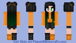 Halloween - Orange - Black & green hair cutie Minecraft Skin