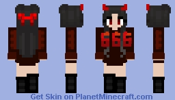 Halloween - Spooky Scary - 666 Devil girl Minecraft Skin
