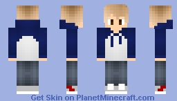 Boy With Blue and White Hoodie Minecraft Skin
