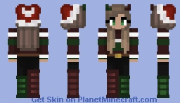 Christmas - Dark red and green Sweater girl - Hat - Boots Minecraft Skin