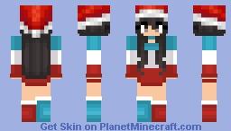 Christmas - Blue White & Red Pushpop girl Minecraft Skin