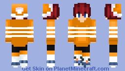 Christmas - Orange & White Stripe - Redhead & Hat Minecraft Skin