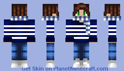 Christmas - Blue & White Stripe - Scarf & Dark Brown Hair Minecraft Skin