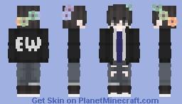 Cute Boy With Flower Crown And EW Jacket (Updated) Minecraft Skin