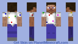 Steve with Dotted White Shirt Minecraft Skin