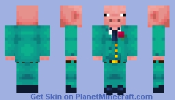 Pig in a blue suit Minecraft Skin