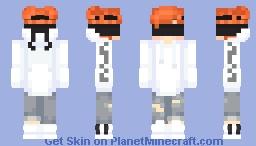 White hoodie boy with eyeband Minecraft Skin