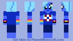 Humanoid Blue Pony Girl with LGBTQ+ Bracelets (Water Wings) Minecraft Skin