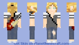 Gray T Shirt and Guitar Outfit Minecraft Skin