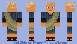 Roman man in striped blue tunic with green toga Minecraft Skin