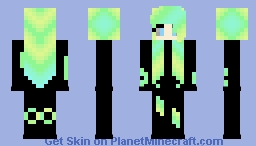 Green hair sexy lady Minecraft Skin