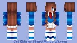 Brunette Schoolgirl In Blue Minecraft Skin
