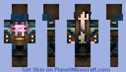 Miner girl with axolotl in a backpack Minecraft Skin