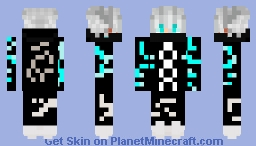white haired anime boy in glowing clothes Minecraft Skin