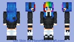 rainbow schoolgirl Minecraft Skin