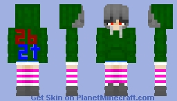 Creeper Jacket Girl with 2b2t Logo Minecraft Skin