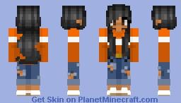 Orange Longs Sleeve Shirt Minecraft Skin