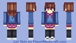 Girl in a blue sweater Minecraft Skin