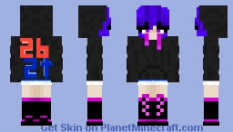 Enderman Jacket Girl with 2b2t Logo Minecraft Skin