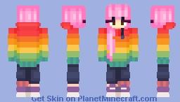 Aesthetic rainbow hoodie girl Minecraft Skin
