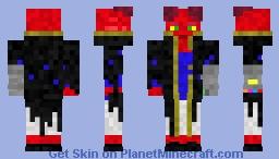 Tiefling in Black Coat with Gauntlet Minecraft Skin