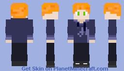 Male Skin Orange Hair With Dragon Logo Minecraft Skin
