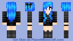 Electric Blue Hair Minecraft Skin