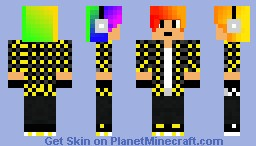 Black and Yellow Teen with Rainbow Hair & Headphones Minecraft Skin