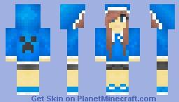 Blue Creeper Hoodie Girl Minecraft Skin
